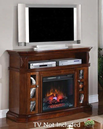 23mm774-w502 Bellemeade Electric Fireplace Media Console With 2 Side Cabinets Integrated Wire Management Media Storage And Fluted Details In Burnished Walnut