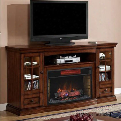 32mm4486-p239 Seagate Electric Fireplace Entertainment Center With Two Adjustable Glass Shelves Framed Glass Doors And Bottom Drawers In Premium Pecan
