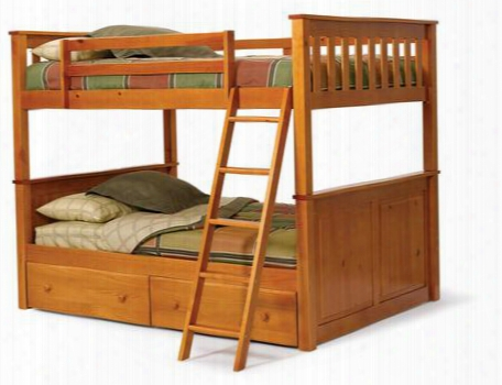 3642540-s Full Over Full Mission Panel Bunk Bed With Underbed Storage