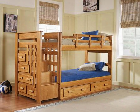 365001-s Twin Over Twin Stairwaybed With Underbed Storage