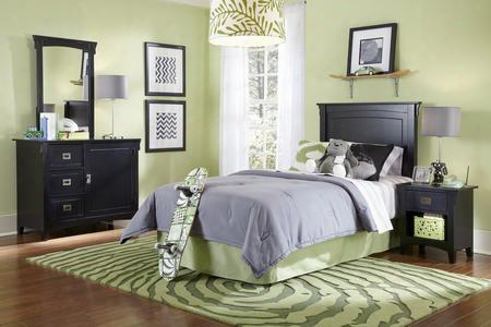 502-189 Mission Black Bedroom In A Box With Tight Lined Headboard Spacious Storage Dresser Large Mirror And Coordinating Nightstand In Black