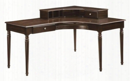 800593 Jacqueline Corner Desk With Built -in Hutch Moldings On Leg Post And Keyboard Rollout Drawer In Cappuccino