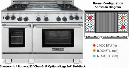 "Arrob-448x2grn Performer Series 48"" Natural Gas Range With 4 Lift-off Open Gas Burners Two 11"" Char-grills 18"" Bake Oven And 30"" Innovection Oven In"