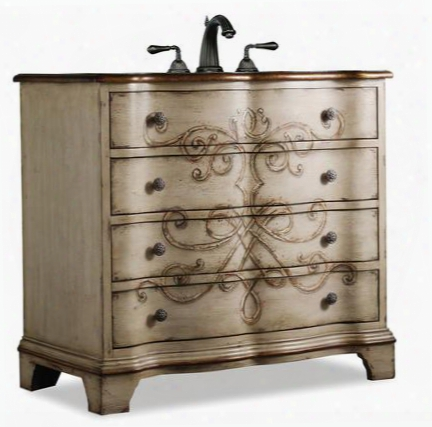 "Canterbury 112227553616 36"" Sink Chest With 3 Drawers Umber Accents Antique Brass Hardware Cherry Hardwood Solids And Veneers In Parchment Handpainted"