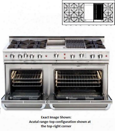 "Connoisseurian Cob604gb2-n 60"" Freestanding Dual Fuel Electric Range With 8 Open Burners Primary 4.6 Cu. Ft. Oven Cavity Secondary 3.1 Cu. Ft. Oven Cavity"