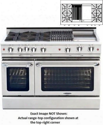 "Culinarian Series Cgsr482bg2-n 48"" Freestanding Natural Gas Range With 4 Open Burners Primary 4.6 Cu. Ft. Oven Capacity And Secondary 2.1 Cu. Ft. Oven"