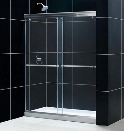 Dl-6943r-04cl Charisma Frameless Bypass Sliding Shower Door And Slimline 36 By 60 Single Threshold Shower Base Right Hand