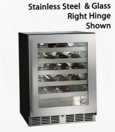 "Ha24wb3l 24"" 4.8 Cu. Ft. 40 Bottle Capacity Ada Compliant Single Zone Built-in Counter Depth Stainless Steel Interior Wine Reserve With Stainoess Steel &"