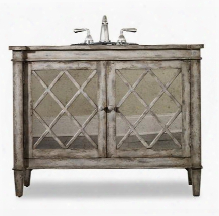 "Kelley 112227554413 44"" Sink Chest With 2 Doors 1 Shelf Antiqued Parchment Hardware Select Asian Hardwood Solids And Antiqued Mirror In Antiqued Parchment"