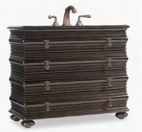 """Kona Beach 112427554300 43"""" Vanity With 3 Drawers Antique Brass Hardware Asian Hardwoods Ribbon Striped And Quartered Mahogany Veneers In Aged Mahogany"""