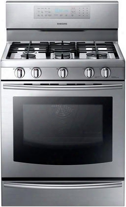"Nx58f5700ws 30"" Freestanding Gas Range With True Convection 5 Burners 5.8 Cubic Feet Self Clean 3 Chrome Oven Racks Warming Drawer Variable Broil"