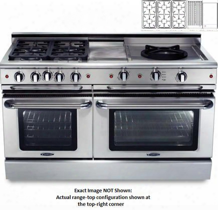 "Precision Series Gscr606bg-l 60"" Freestanding Liquid Propane Range With 6 Sealed Burners 4.6 Cu. Ft. Capacity Secondary 3.1 Cu. Ft. Oven Cavity And"