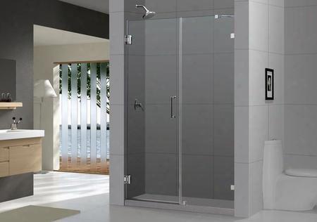 Shdr-23607210-04 Unidoorlux 60 Frameless Hinged Shower Door Clear 3/8 Glass Door Brushed Nickel