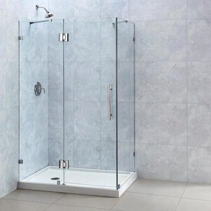 Shen-1334460-04 Quatralux 34 5/16 By 46 5/16 Frameless Hinged Shower Enclosure Clear 3/8 Glass Shower Brushed Nickel