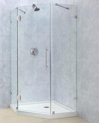 Shen-22404000-4 Prismlux 40 3/8 By 40 3/8 Frameless Hinged Shower Enclosure Clear 3/8 Glass Shower Brushed Nickel