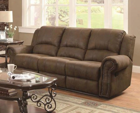 "Sir Rawlinson Collection 650151 90"" Reclining Sofa With Rolled Arms Nail Head Trim And Split Bustle Back Cushions In Brown"