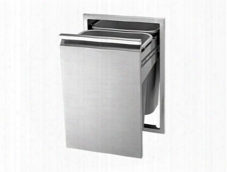 Tetd182t-b Double Tall Full Pullout Trash Drawer With Two Larger Capacity Trash Containers And Flush Handle Design With Hi-polished Acent In Stainless