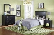 502-189 Mission Black Bedroom in a Box with Straight Lined Headboard Spacious Storage Dresser Large Mirror and Coordinating Nightstand in Black