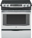 "JS630SFSS 30"" Slide-In Electric Range with 4.4 cu. ft. Capacity Smooth Ceramic Glass Cooktop Smooth Ceramic Glass Cooktop Black Gloss Oven Interior and Self"