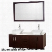 WCSB40055ESWHGS3 55 in. Double Bathroom Vanity in Espresso with White Glass Top White Carrera Marble Sinks and 52.75 in.