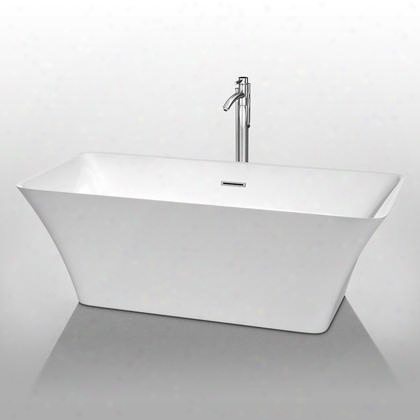 Wcbtk150467 67 In. Center Drain Soaking Tub In White With Chrome