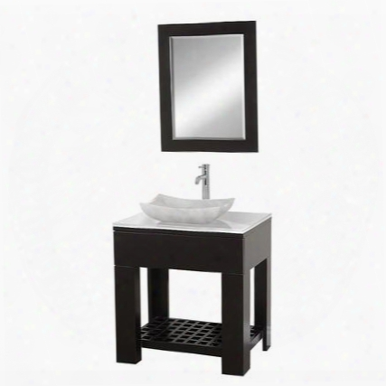 Wcs1000eswhgs3 30 In. Single Bathroom Vanity In Espresso With White Glass Top With White Carrera Marble Sink And 24 In.
