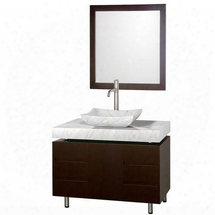 Wcs300036escwgs3 36 In. Single Bathroom Vanity In Espresso With White Carrera Marble Top With White Carrera Marble Sink And 30 In.