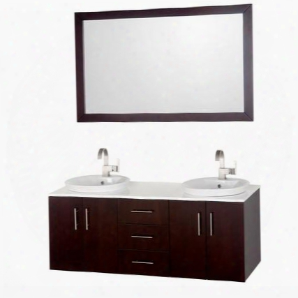 Wcsb40055eswh 55 In. Double Bathroom Vanity In Espresso With White Glass Top White Porcelain Semi-recessed Sinks And 52.75 In.