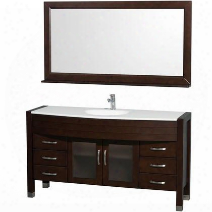 Wcv210960eswh 60 In. Single Bathroom Vanity In Espresso With White Man-made Stone Top With Integral Sink And 60 In.
