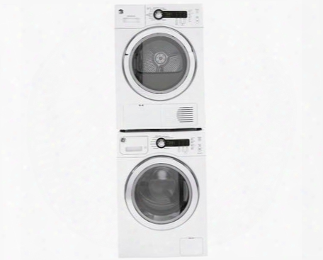"White Compact Laundry Pair With Wcvh4800kww 24"" Washer Dcvh480ekww 24"" Electric Dryer And Ge24stack Stacking"