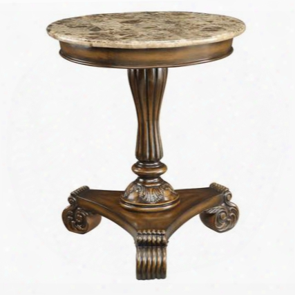 """43376 24"""" Accent Table With Smooth Marble Top Carved Details And Scrolled Feet In Carno Burnished"""