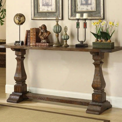 "46224 72"" Console Table With Hand-hewn Details Stretcher And Trestle Base In Rustic Brown"