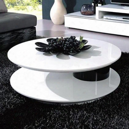 5019c Round Black And White High Gloss Lacquer Coffee Table With Swivel