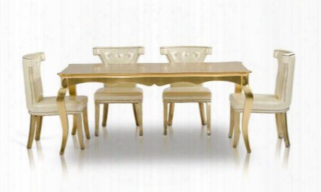 """Ac841-180-5pcset Armani Xavira Collection 5 Piece Dining Set With Transitional 73"""" Gold Tone Dining Table  4 White Leather Dining"""