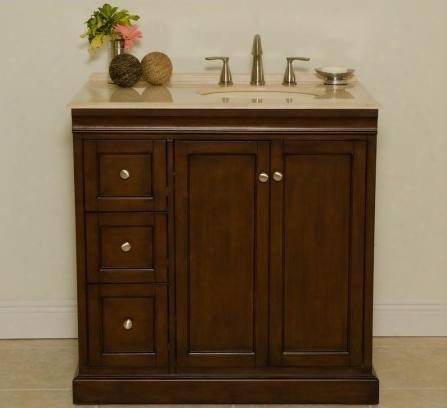 """Beth A0701slb 36"""" Single Vanity With Transitional Cabinet Two Doors With One Shelf Inside And Three Felt-lined Drawers In"""