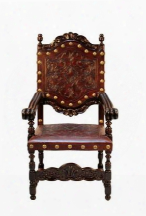 Del Ray Dc-002-1031 Dining Chair With Carved Leather And Wooden Frame In Dark