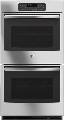 "Jk3500sfss 27"" Built-in Double Wall Oven With 8.6 Cu. Ft. Total Oven Capacity Self-clean Heavy Duty Oven Racks Steam Clean Option Ten Pass Bake Element And"