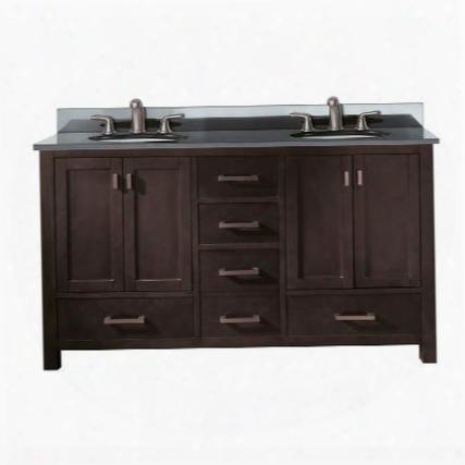 Modero-vs60-es-a Avanity Modero 60 In. Double Vanity With Black Granite Top And Double Sinks In Espresso