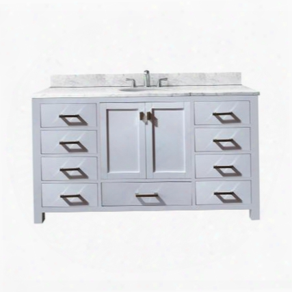 Modero-vs60-wt-a-c Avanity Modero 60 In. Single Vanity With Carrera White Marble Top And Single Sink In White