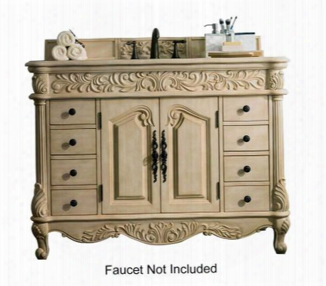 "Monte Carlo Collection 206-001-5126 48"" Single Vanity With Marble Top Vanity Eight Drawers And Two Doors In Parchment"