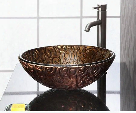 Rve165mbv Reflex Above-counter Round Glass Vessel Sink In Metallic Brown
