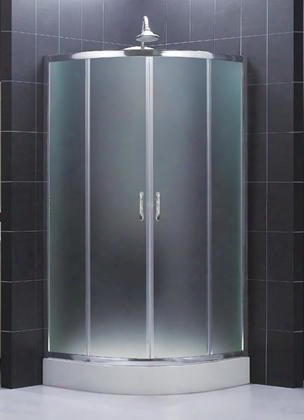 Shen-7236360-01-frsolo 36 3/8 By 36 3/8 Frameless Sliding Shower Enclosure Frosted 1/4 Glass Shower Chrome