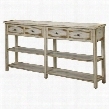 "32062 72"" Console Table with Distressed Detailing 4 Drawers and Bottom Shelf in Ada Antique White"