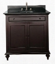"Merlot MERLOT-VS30-ES 30"" Single Vanity with Black Granite Top White Sink Antique Brass Finished Hardware Two Doors and One Drawer in Espresso"