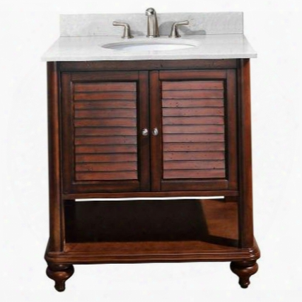 Tropica-vs30-ab-c Avanity Tropica 30 In. Vanity With Carrera White Marble Top And Sink In Antique Brown