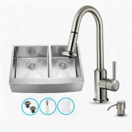 """Vg15099 33"""" Stainless Steel Kitchen Sink Set With 16.75"""" Stainless Steel Faucet Pull-out Spray Head Faucet 2 Strainers 2 Grjds Embossed Vigo Cutting Board"""