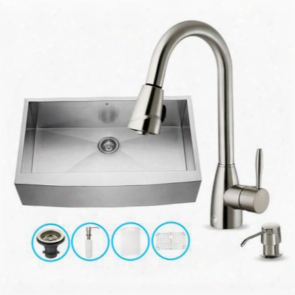 "Vg15146 36"" Stainless Steel Kitchen Sink Set With 13.875"" Stainless Steel Faucet Soap Dispenser Bottom Grid Strainer Embossed Vigo Cutting Board Embossed"