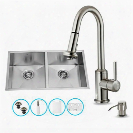 "Vg15159 32"" Stainless Steel Kitchen Sink Set With 16.75"" Stainless Steel Faucet Soap Dispenser 2 Bottom Grids 2 Strainers Embossed Vigo Cutting Board And"