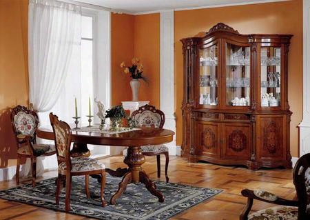 Vgfmreginadt-1-8pcset Regina Collection 8 Piece Dining Set With Italian Extension Table + 4 Side Chairs + 2 Arm Chairs + 4 Door China Cabinet: