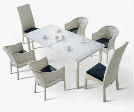 Vght-h10 Renava Patio Dining Set With Glass Top Table 6 Arm Chairs And Wicker Chair Frames In